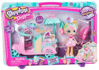 Set papusa cu scooter inghetata Shopkins Shoppies Peppa Mint