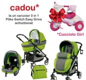 Carucior 3 in 1 Pliko Switch Easy Drive + Cucciolo Girl cadou