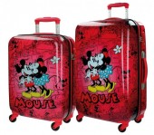 Set 2 trolere calatorie ABS 55/67 cm 4 roti Retro Comic Red
