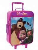 Troler calatorie copii textil 50 cm Masha and the Bear