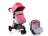Carucior Copii 3 in 1 Cangaroo Sarah Grey and Pink