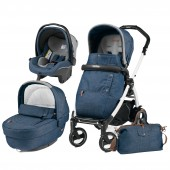 Carucior pentru copii 3 in 1 PEG PEREGO, BOOK PLUS 51 S, BLACK&WHITE, COMPLETO ELITE URBAN DENIM