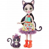 Papusa Enchantimals Ciesta Cat cu figurina Climber
