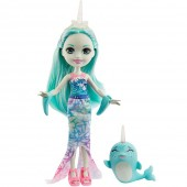 Papusa Enchantimals Naddie Narwhal cu figurina Sword
