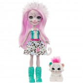 Papusa Enchantimals Sybill Snow Leopard cu figurina Flake