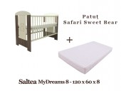 Patut copii Safari Sweet Bear + Saltea MyDreams 8