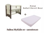 Patut copii Safari Sweet Bear + Saltea MyKids Basic II 10cm