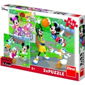 Puzzle 3 in 1 - Mickey si Minnie sportivii