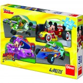 Puzzle 4 in 1 - Mickey Mouse si Minnie la cursa