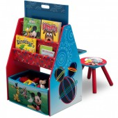 Set 2 in 1 organizator si birou cu tablita si scaun Mickey Mouse Activity Center