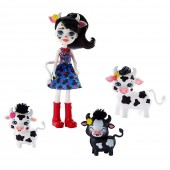 Set Papusa Enchantimals Cambrie Cow With Ricotta And Family Papusa cu 3 figurine