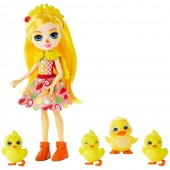 Set Papusa Enchantimals Dinah Duck With Slosh And Family Papusa cu 4 figurine