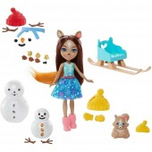 Set Papusa Enchantimals papusa Sharlotte Squirrel, figurina Peanut si accesorii