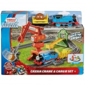 Set Thomas and Friends Cassia Crane and Cargo sina cu locomotiva motorizata si vagon